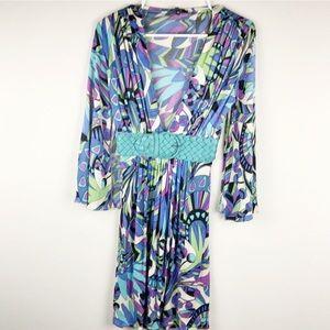 Sky Multi Color Retro Style Braided Belt Dress M